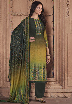 Digital Printed Pashmina Silk Pakistani Suit in Shaded Green