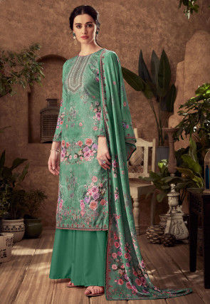 Digital Printed Pashmina Silk Pakistani Suit in Teal Green