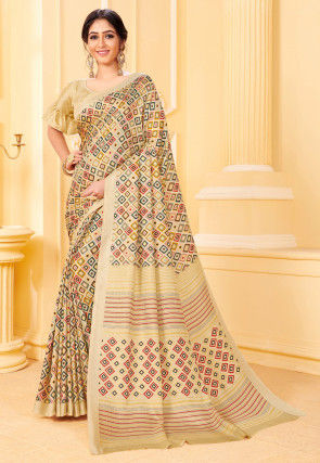 Digital Printed Pashmina Silk Saree in Beige