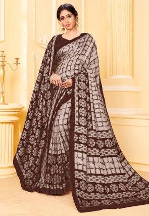 Digital Printed Pashmina Silk Saree in Brown
