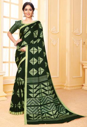 Digital Printed Pashmina Silk Saree in Dark Green