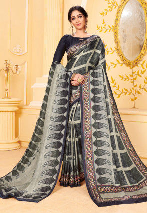 Digital Printed Pashmina Silk Saree in Grey