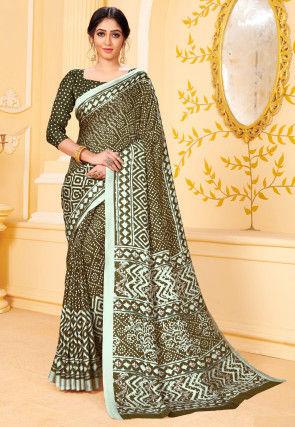 Digital Printed Pashmina Silk Saree in Olive Green