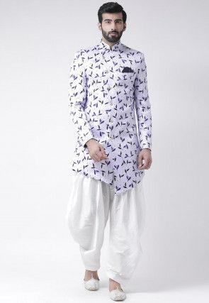 Digital Printed Polyester Asymmetric Dhoti Sherwani in Light Purple