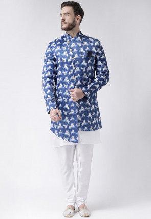 Digital Printed Polyester Asymmetric Sherwani in Blue