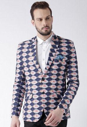 Digital Printed Polyester Blazer in Dark Blue