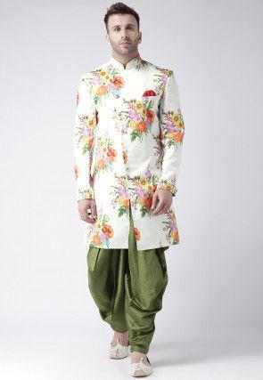 Digital Printed Polyester Dhoti Sherwani in Off White