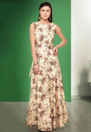 Digital Printed Polyester Gown in Light Beige