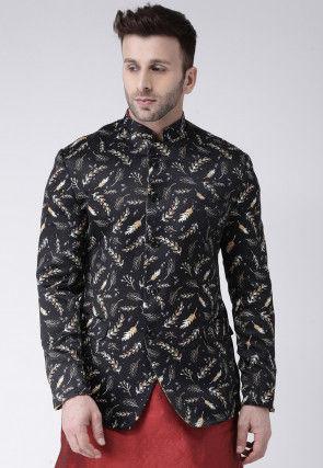 Digital Printed Polyester Jodhpuri Jacket in Black