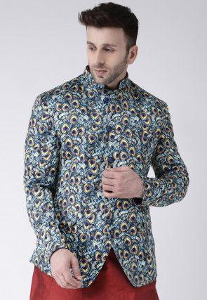 Digital Printed Polyester Jodhpuri Jacket in Blue