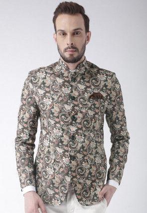 Digital Printed Polyester Jodhpuri Jacket in Grey