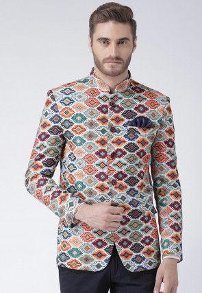 Digital Printed Polyester Jodhpuri Jacket in Light Grey and Multicolor