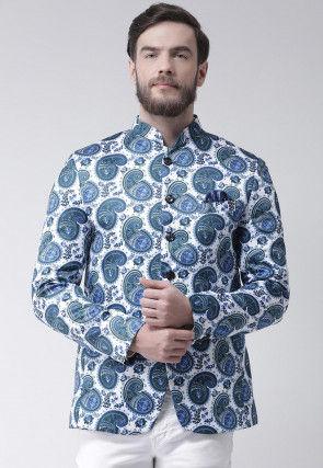 Digital Printed Polyester Jodhpuri Jacket in Off White and Blue