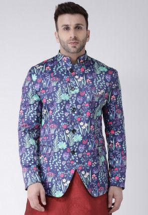 Digital Printed Polyester Jodhpuri Jacket in Purple