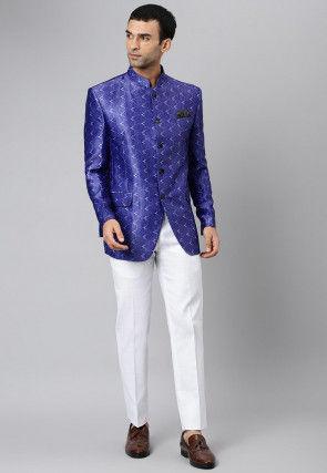 Digital Printed Polyester Jodhpuri Suit in Blue