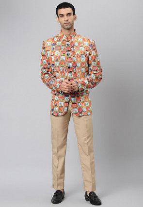 Digital Printed Polyester Jodhpuri Suit in Orange