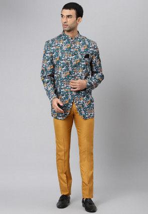 Digital Printed Polyester Jodhpuri Suit in Teal Blue