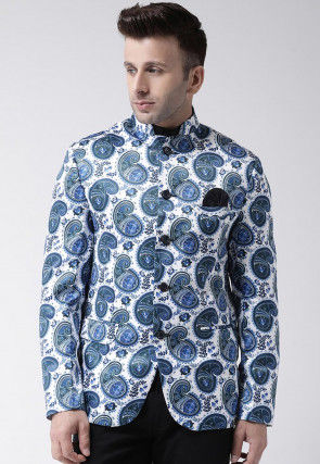 Digital Printed Polyester Jodhpuri Suit in White and Blue
