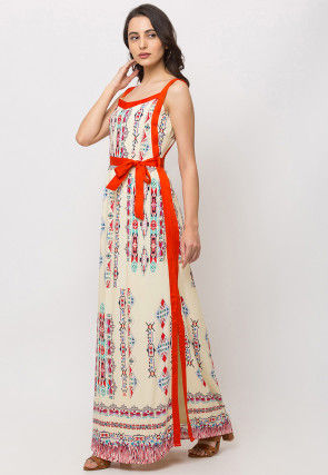 Digital Printed Polyester Maxi Dress in Cream