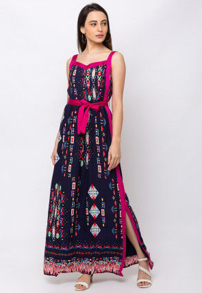 Digital Printed Polyester Maxi Dress in Navy Blue