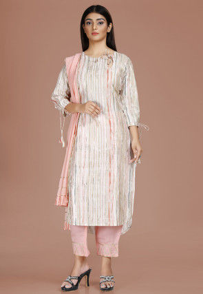 Digital Printed Polyester Pakistani Suit in Off White