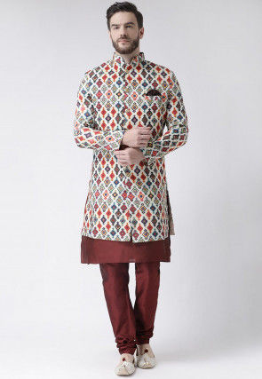 Digital Printed Polyester Sherwani in Off White and Multicolor