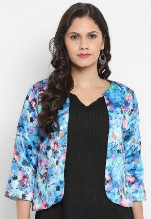 Digital Printed Polyester Viscose Jacket in Blue