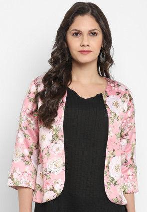 Digital Printed Polyester Viscose Jacket in Pink