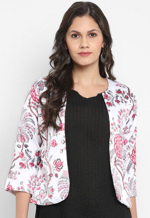 Digital Printed Polyester Viscose Jacket in White and Pink