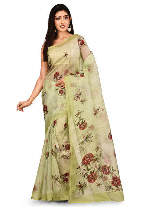 Digital Printed Pure Organza Saree in Light Green