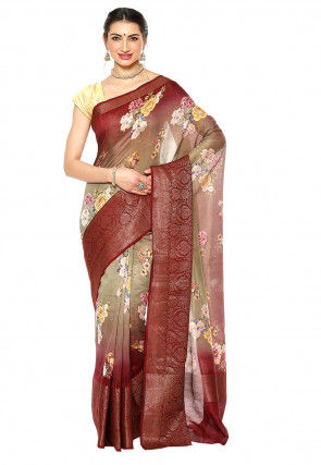 Digital Printed Pure Silk Saree in Light Fawn and Maroon
