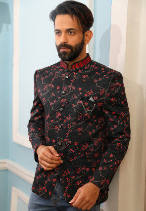 Digital Printed Quilted Polyester Jodhpuri Jacket in Black