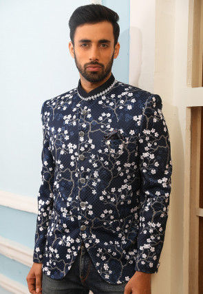Digital Printed Quilted Polyester Jodhpuri Jacket in Navy Blue