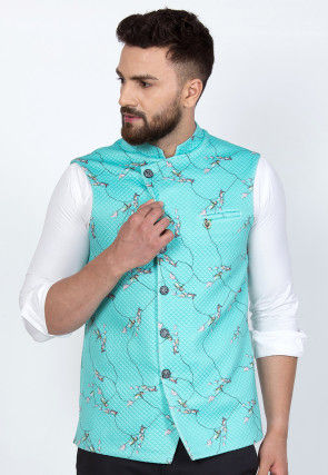 Digital Printed Quilted Viscose Rayon Nehru Jacket in Turquoise