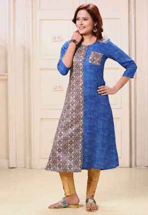 Digital Printed Rayon A Line Kurta in Blue and Multicolor