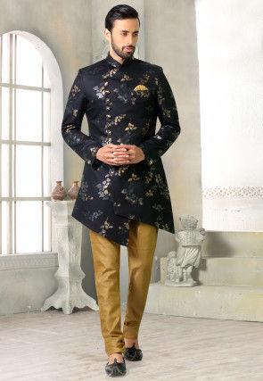 Digital Printed Rayon Asymmetric Jodhpuri Suit in Black