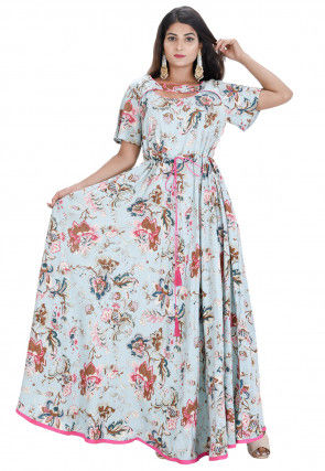 Digital Printed Rayon Flared Gown in Sky Blue