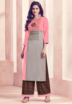 Digital Printed Rayon Kurta Set in Pink and Light Grey