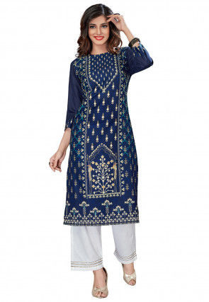 Digital Printed Rayon Kurta with Palazzo in Teal Blue