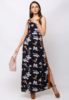 Digital Printed Rayon Maxi Dress in Black