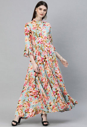 Digital Printed Rayon Maxi Dress in Sky Blue
