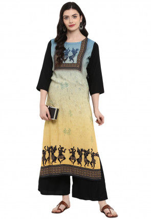 Digital Printed Rayon Straight Kurta in Shaded Blue and Beige