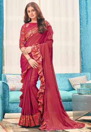 Digital Printed Ruffled Art Silk Saree in Maroon