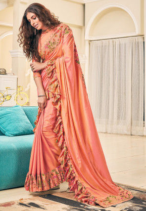 Digital Printed Ruffled Art Silk Saree in Peach and Yellow