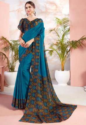 Digital Printed Satin Chiffon Saree in Blue