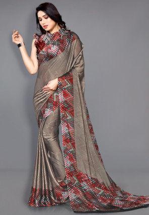 Digital Printed Satin Chiffon Saree in Fawn