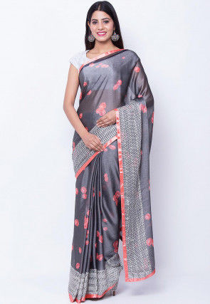 Digital Printed Satin Chiffon Saree in Grey