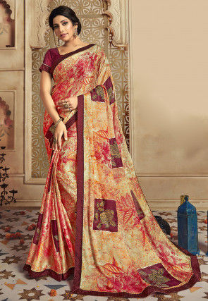 Digital Printed Satin Chiffon Saree in Orange and Beige