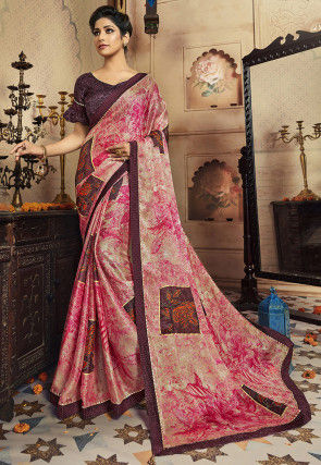 Digital Printed Satin Chiffon Saree in Pink and Beige
