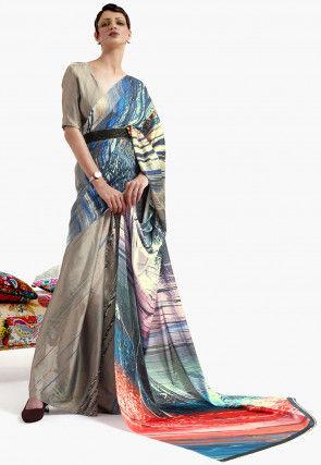 Digital Printed Satin Crepe Saree in Beige and Multicolor